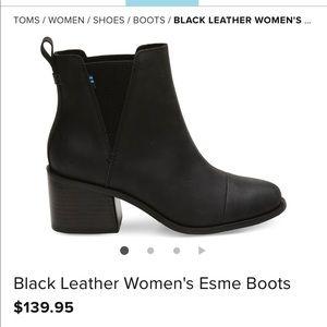 Tom's Black Leather Women's Esme Boots